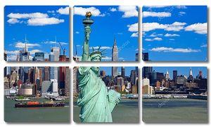 Статуя свободы и Мидтаун Манхэттен