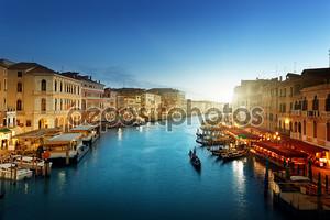 Гранд-канал в время заката, Венеция, Италия