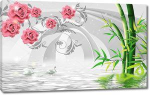 3d иллюстрация, арки, зеленый бамбук, розовые бутоны роз на декоративных ветвях, пара лебедей, отраженных в воде