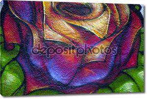 Рисунок розы на стене