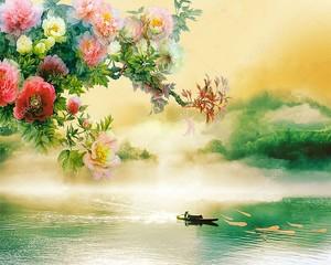 Рыбак на лодке, крупные цветы и темные облака