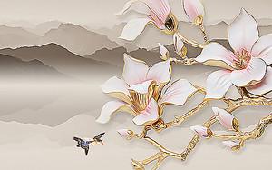 Фаянсовые цветы на фоне гор