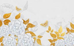 Цветы с золотыми листьями