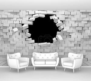 Разбитая кирпичная стена
