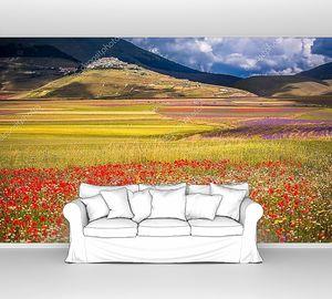 Цветущие поля в горах Италии