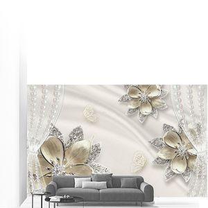 Шелк, шторы цветы со стразами