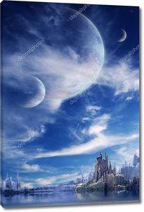 Пейзаж в фэнтезийной планете