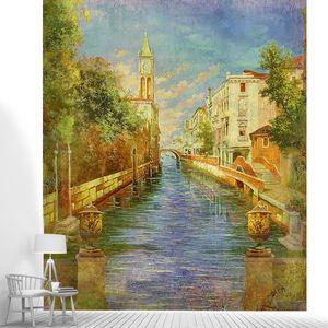 Фреска с красивой архитектйрой и рекой