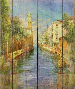 Фреска с красивой архитектурой и рекой