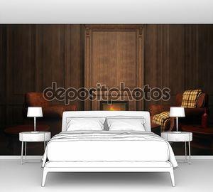 креслами и камином