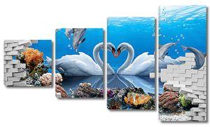 Дельфины и лебеди за стеной