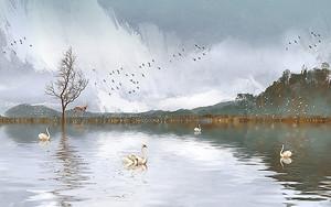 Лебеди на горном озере