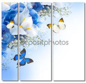 Бабочки, голубые гортензии