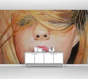 Рисунок девушки с челкой на глазах