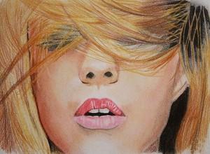 Рисунок девушки в волосах