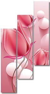 Белые шары с розовыми цветами