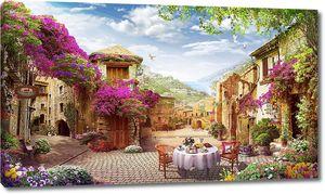 Цветочная улица с уличным кафе