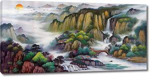 Край горных водопадов