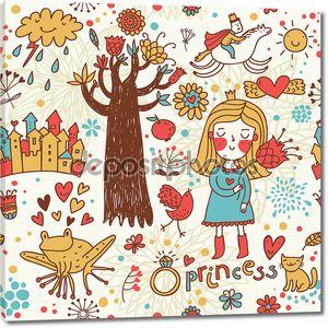 Симпатичные принцесса каракули набор в цвете
