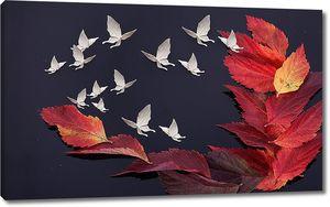 Абстракция с осенними листами и бабочками