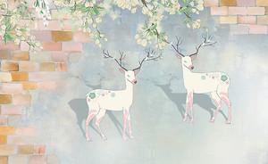 Белые олени в проеме стены