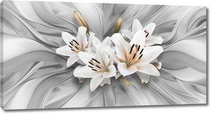 Три лилии в центре на ткани