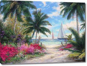Тропинка к пляжу и парусники