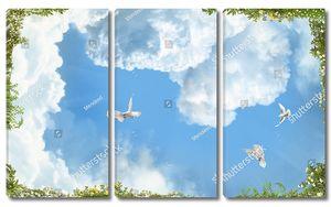 Голуби, летящие в небе
