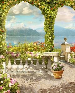 Вид с террасы с колоннами и цветами