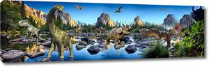 Динозавры в доисторическом ландшафте