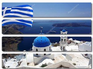 Санторини с флагом Греции, столица Фира