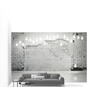 Старая кирпичная стена и лампочки
