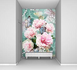 Цветочная открытка. Поздравляем карт с пионами, бабочек и жемчуг. Красивый розовый цветок