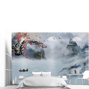Туман с ярким деревом