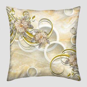 Мраморный фон, белые кольца, темные декоративные цветы
