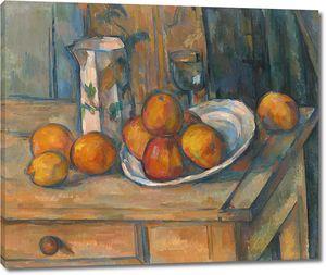 Поль Сезанн. Натюрморт с молочником и фруктами