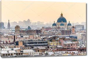 Аэрофотоснимок Санкт-Петербурга и Троицкий собор