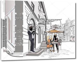 Улица с людьми в старом городе