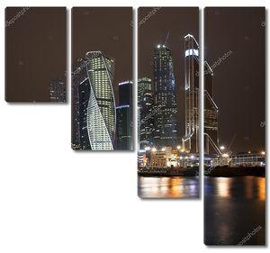 Красивая Ночная точка зрения небоскребы Международный Бизнес центр Москва реки