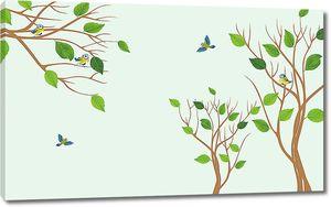 Деревья с синичками