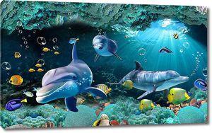 Разноцветные рыбы с дельфинами