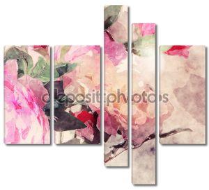 Розовый букет акварелью