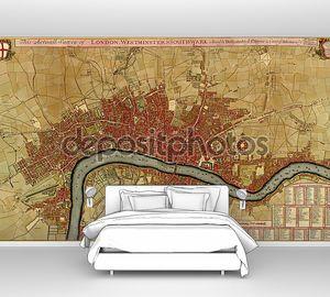 Античная Карта Лондона, Вестминстер asnd southwark,