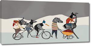 Животные на велосипеде