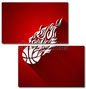 баскетбольный шар в векторном цвете символа кроссовок пламени