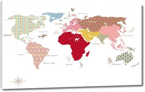 Карта мира с паттернами