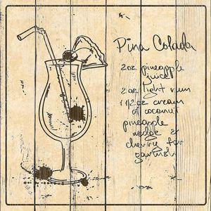 Hand drawn Pina Colada cocktail