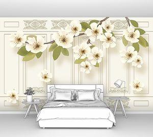 Жасминовая ветка на фоне стилизованных стенных панелей