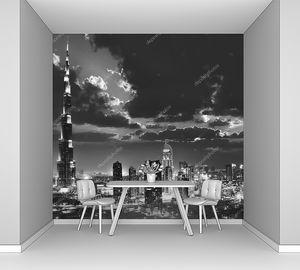 Дубай центр города на ночь, черно-белая фотография