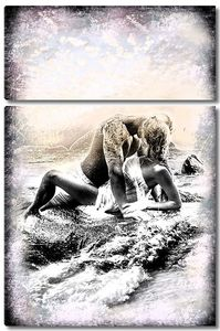 Пара на берегу абстракция